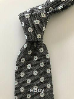 New $225 Borrelli Napoli Tie MAGNIFICENT PATTERN Grey/Blue Floral Italy RARE