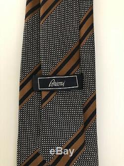 New $230 Brioni Tie GORGEOUS COLORS Navy/Brown Pure Silk Italy Must Have RARE