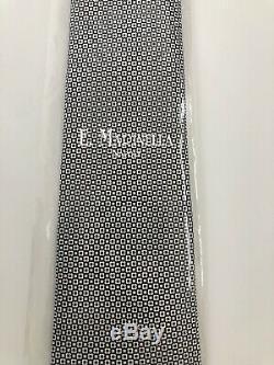 New $245 E. Marinella Napoli Tie 50oz Silk SOFT & DIVINE Black/White Self Tipped