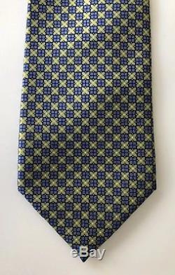 New $245 Ermenegildo Zegna Tie Blue/Green Creamy Silk Rare LIMITED EDITION