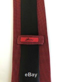 New $285 Brioni Tie UNIQUE DESIGN Black/Red Pure Creamy Silk Italy VERY RARE