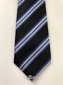 New $295 Kiton Tie STUNNING PATTERN 7-Fold Black/Blue Soft Creamy Silk Italy