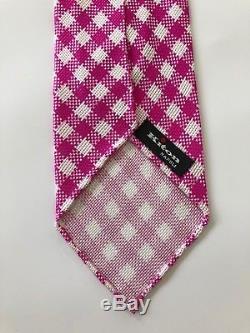 New $295 Kiton Tie STUNNING PATTERN Pink/White Unlined 7-Fold Silk Italy Rare
