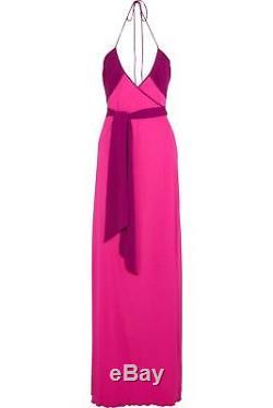 New $650 Diane von Furstenberg DVF Dacey Two Tone Wrap Tie Long Maxi Dress US 4