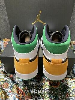 New Air Jordan 1 Mid SE Lucky Green / Laser Yellow Size 9 Mens 852542-101