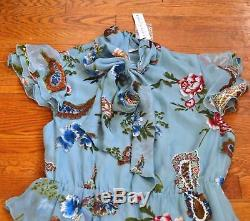 New Alice + Olivia Lessie Tie Neck Bow Blue Floral Ruffle Maxi Long Gown Dress 2