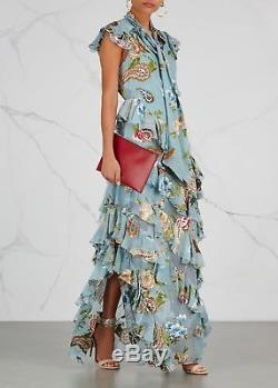 New Alice + Olivia Lessie Tie Neck Bow Blue Floral Ruffle Maxi Long Gown Dress 4