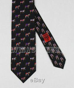 New Auth Gucci Tie Midnight Blue Silk Horse Print Silk