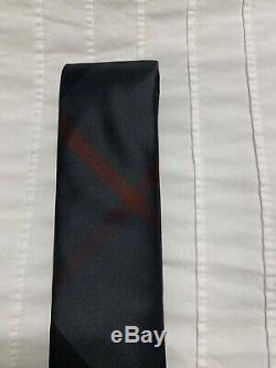 New Authentic Burberry Nova Check Plaid Logo Men Tie Haymarket Black Gray $190