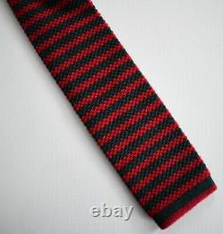 New Authentic GUCCI Red Green Striped GOLD BEE 100% WOOL KNIT Narrow Tie 476809