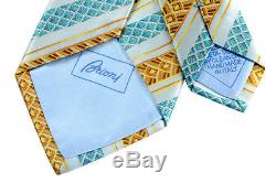 New BRIONI Italy Light Blue Deco Striped 3.25 Silk Handmade Neck Tie NWT