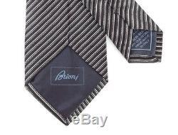 New BRIONI Italy Silver Black Micro Striped 3.25 Silk Hand Made Neck Tie