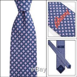 New BRIONI disN. D010171 Blue Pink Geometric Floral 3.25 Silk Neck Cravat Tie