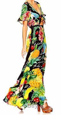 New Camilla Franks Call Me Carmen Tie Front Silk Long Maxi Kaftan Dress 2 MEDIUM