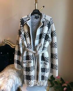New Chanel Oversized Plaid Self-Tie Belted Cashmere Cardigan FR34