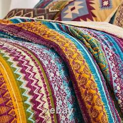 New! Cozy Chic Blue Purple Green Red Teal Aqua Orange Tie Dye Soft Quilt Set