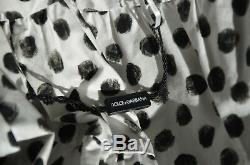 New Dolce & Gabbana Bow Tie Shoulder Black White Dot Swing Dress US 2 4 / IT 40