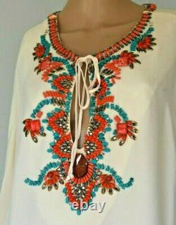 New Emilio Pucci Embellished Runway Tunic Top Silk Dress Kaftan US 6 8 / IT 44
