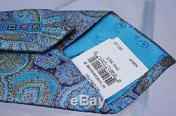 New Ermenegildo Zegna Men's Multi Tie Silk Paisley Classic Neckwear Blue