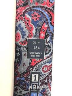 New Ermenegildo Zegna Multi-color Paisley QUINDICI 100% Silk Tie Made in Italy
