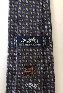 New Hermes Paris Tie STAPLE STYLE Grey/Blue H Design Silk France VERY RARE