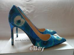 New Manolo Blahnik BB Blue/White Tie-Dye 105mm Pump Women's 41/11 $695