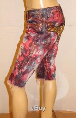 New Men's ROBIN'S JEAN Shorts sz 34 D50088 Long Studded Flap Short -Tie Dye