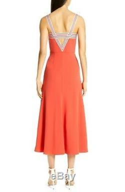 New NWT $1,690 Lela Rose Fluid Crepe Tie Front Striped Sun Dress IT 42 / US 6
