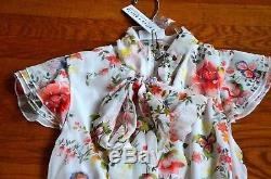 New NWT $440 Alice + Olivia Leslie Tie Neck Bow Floral Ruffle Dress IT 40 / US 4
