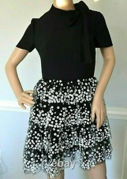 New NWT $7,500 Valentino Bow Applique Embellished Embroidered Dress US 2 / IT 38