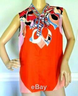 New NWT Emilio Pucci Bow Tie Signature Print Silk Dress Tank Top US 6 8 / IT 42