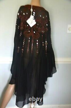 New NWT Emilio Pucci Mirror Embroidered Runway Silk Dress Kaftan US 4 6 / IT 40
