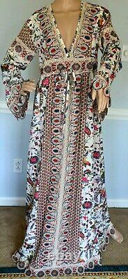 New NWT Tory Burch Rosemary Embroidered Crochet Floral Maxi Long Gown Dress US 2