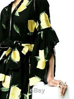New NWT We are Leone Embroidered Amalfi Lemon Jacket Long Maxi Dress XS / Small