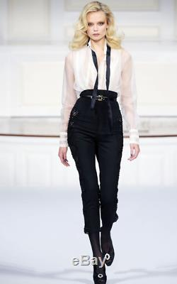 New Oscar De La Renta 10 Ivory White Black Self Tie Longsleeve Silk Organza