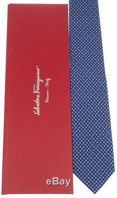 New Salvatore Ferragamo Gancio Logo Floral 100% Silk Neck Tie