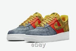 Nike Air Force 1'07 LV8 Shoes Tie Dye Dark Sulfur Canvas CZ0337-700 Mens NEW