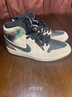 Nike Air Jordan 1 Mid Barely Rose Black Iridescent BQ6472 602 Women's Size 10.5