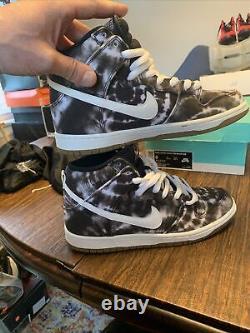 Nike Dunk Sb High Used Size 8 Tie Dye Black White 313171 023