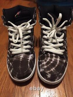 Nike Sb Dunk High Tie Dye 313171-023 Black White Gum Sz 10.5 2014 Rare Panda