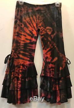 Nwt FUNKY STUFF mudmee tie dye hippy ruffle rayon knit capri PANTS M Free shipp