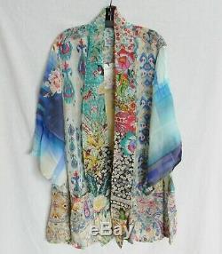 Nwt Johnny Was Mixed Print Kimono Jacket Cardigan Rayon Silk Tie Front Sz 2x