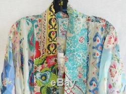 Nwt Johnny Was Mixed Print Kimono Jacket Cardigan Rayon Silk Tie Front Sz L