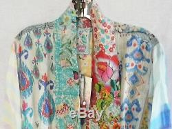 Nwt Johnny Was Mixed Print Kimono Jacket Cardigan Rayon Silk Tie Front Sz XL