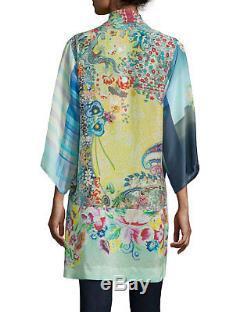 Nwt Johnny Was Mixed Print Kimono Jacket Cardigan Rayon Silk Tie Front Sz XXL 1x