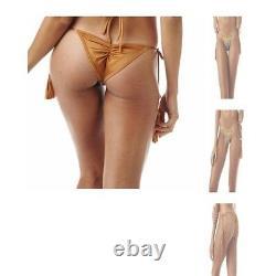 Nwt Montce Swim Gold Neon Crochet Aztec Coppertone Ibiza Tie Up Bikini Medium