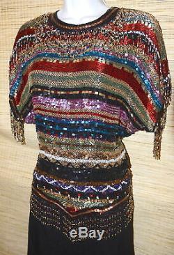 OLEG CASSINI Black Tie SILK Metallic Multi-Color BEADED Sequin Glam Dress Top
