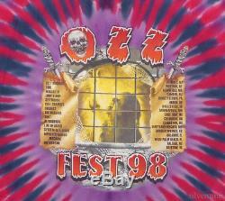 OZZFEST Vintage T Shirt 90's CONCERT 1998 TOUR Tie Dye XL Ozzy Osbourne FESTIVAL