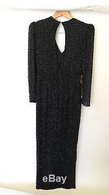 Oleg Cassini Black Tie Sequin Floral Full-length Formal Dress Size 8