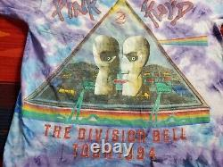 Pink Floyd The Division Bell Tour 1994 Mens T-Shirt Blue Tie Dye Crew Vtg L-XL